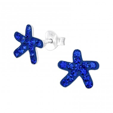 Starfish - 925 Sterling Silver Crystal Ear Studs A4S39516