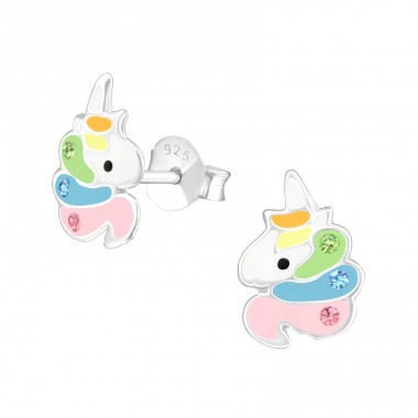 Unicorn - 925 Sterling Silver Crystal Ear Studs A4S39569