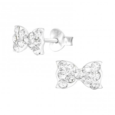 Bow tie - 925 Sterling Silver Crystal Ear Studs A4S39627