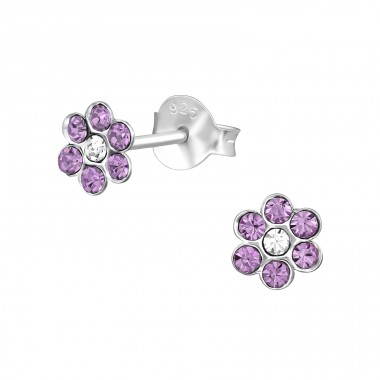 Flower - 925 Sterling Silver Ear studs with crystals A4S39629