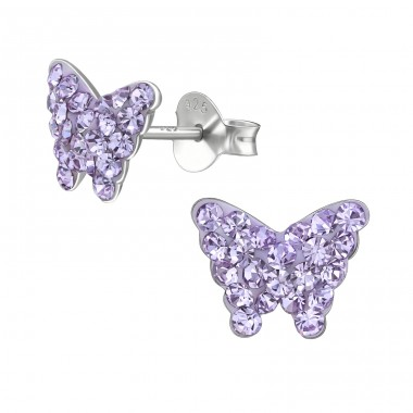 Butterfly - 925 Sterling Silver Crystal Ear Studs A4S39638