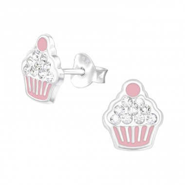 Cupcakes - 925 Sterling Silver Crystal Ear Studs A4S39641