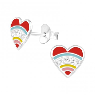 Heart - 925 Sterling Silver Crystal Ear Studs A4S39646