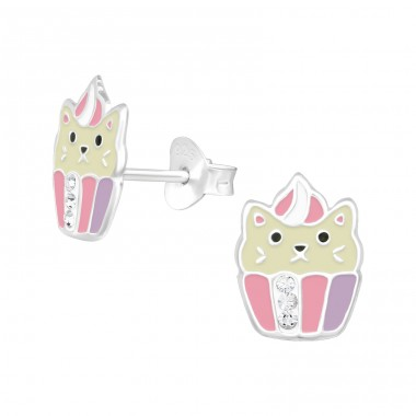 Cat - 925 Sterling Silver Ear studs with crystals A4S39647