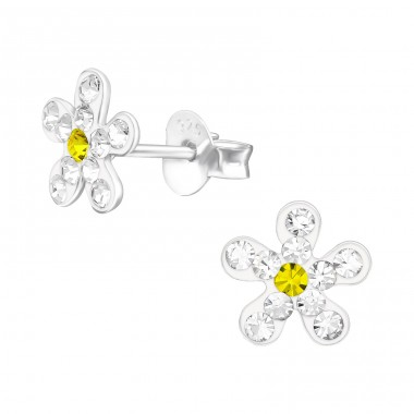 Flower - 925 Sterling Silver Crystal Ear Studs A4S39822