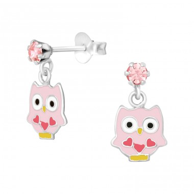 Hanging pink Owl with hearts - 925 Sterling Silver Crystal Ear Studs A4S39837