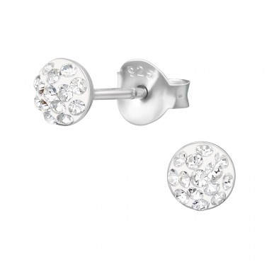 Round - 925 Sterling Silver Crystal Ear Studs A4S39838