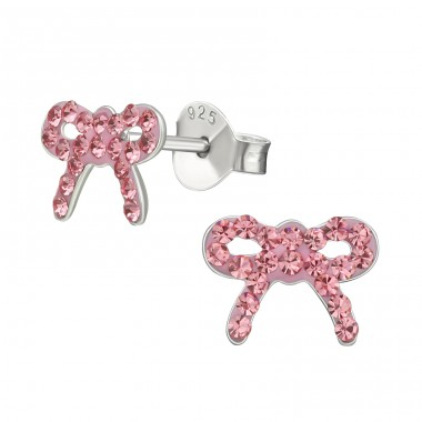 Bow - 925 Sterling Silver Crystal Ear Studs A4S39844