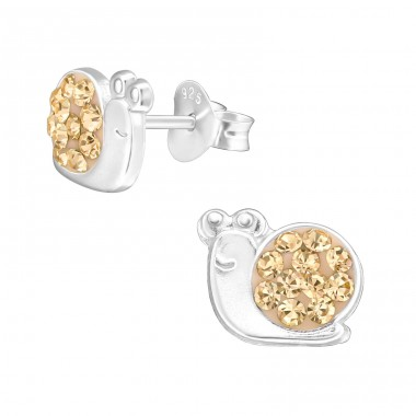 Snail - 925 Sterling Silver Crystal Ear Studs A4S39849