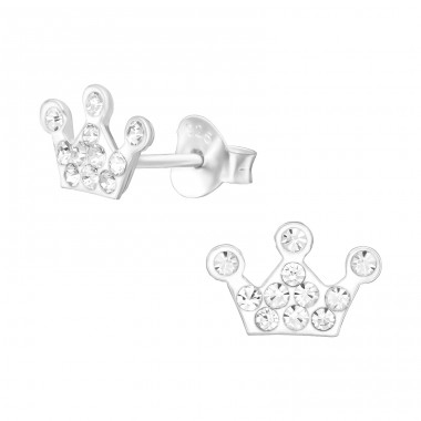Crown for princess - 925 Sterling Silver Crystal Ear Studs A4S39850