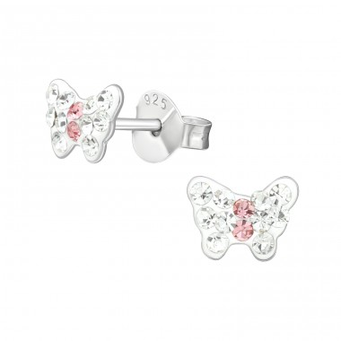 Butterfly white and pink - 925 Sterling Silver Crystal Ear Studs A4S39853