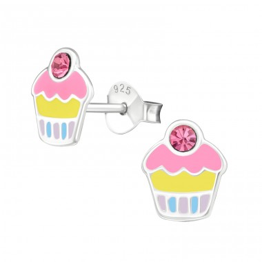 Cupcake - 925 Sterling Silver Crystal Ear Studs A4S39857