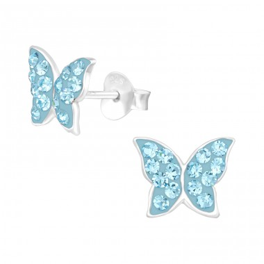 Butterfly - 925 Sterling Silver Crystal Ear Studs A4S39868