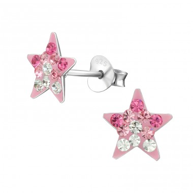 Star - 925 Sterling Silver Crystal Ear Studs A4S39947