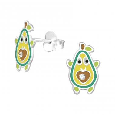 Avocado - 925 Sterling Silver Crystal Ear Studs A4S39952
