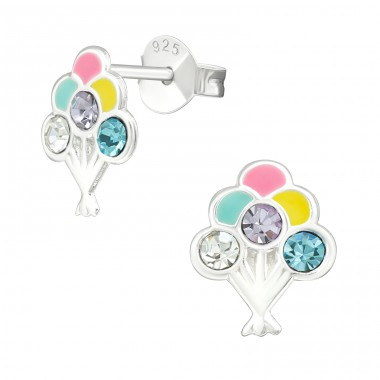Balloon - 925 Sterling Silver Crystal Ear Studs A4S39954