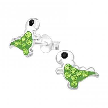 Dinosaur - 925 Sterling Silver Ear studs with crystals A4S39996