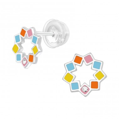 Multicolor Geometric flower - 925 Sterling Silver Ear Studs With Crystals A4S40057