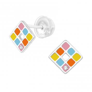 Multicolor Geometric square - 925 Sterling Silver Ear Studs With Crystals A4S40060