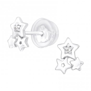 Triple Stars - 925 Sterling Silver Ear Studs With Zirconia Stones A4S40079