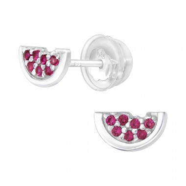 Watermelon - 925 Sterling Silver Ear Studs with Zirconia stones A4S40095