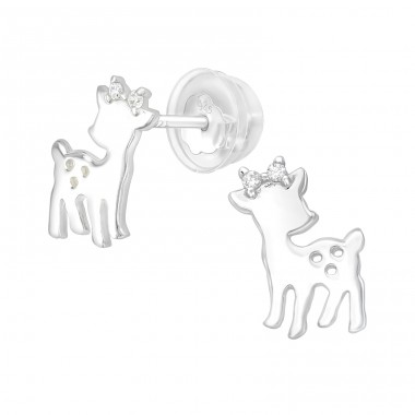 Deer - 925 Sterling Silver Ear Studs with Zirconia stones A4S40101