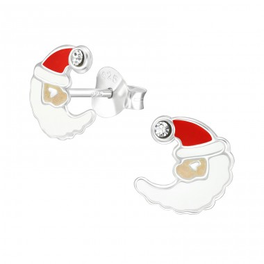 Moon Santa Claus - 925 Sterling Silver Ear studs with crystals A4S40314