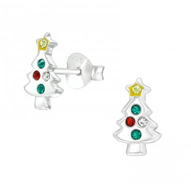 Christmas Tree - 925 Sterling Silver Ear studs with crystals A4S40315