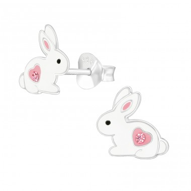 Rabbit - 925 Sterling Silver Ear studs with crystals A4S40324