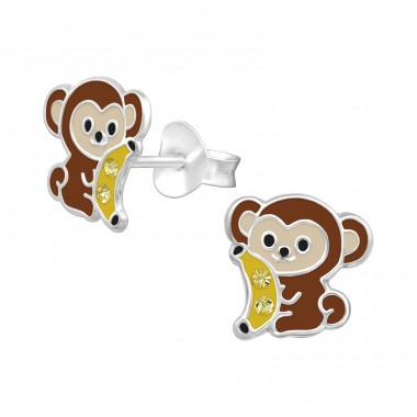 Monkey with banana - 925 Sterling Silver Ear Studs With Crystals A4S40325
