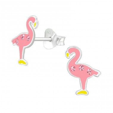 Flamingo - 925 Sterling Silver Ear studs with crystals A4S40332
