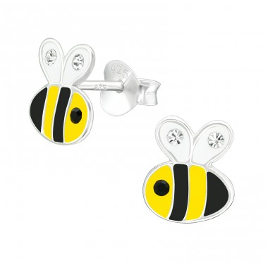 Bee - 925 Sterling Silver Ear studs with crystals A4S40335