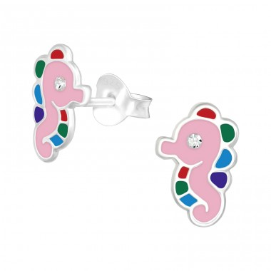 Sea horse - 925 Sterling Silver Ear studs with crystals A4S40338
