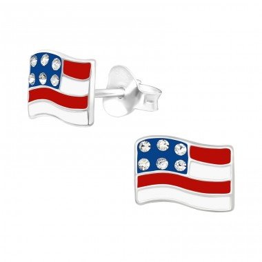 USA Flag - 925 Sterling Silver Ear Studs With Crystals A4S40343