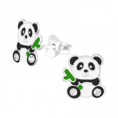 Panda with bamboo - 925 Sterling Silver Ear Studs With Crystals A4S40356