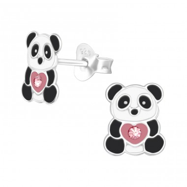 Panda - 925 Sterling Silver Ear studs with crystals A4S40357