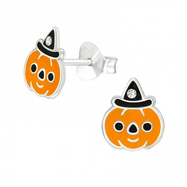 Pumpkin - 925 Sterling Silver Ear studs with crystals A4S40359