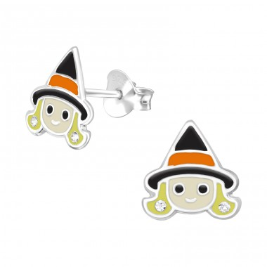 Witch - 925 Sterling Silver Ear studs with crystals A4S40360