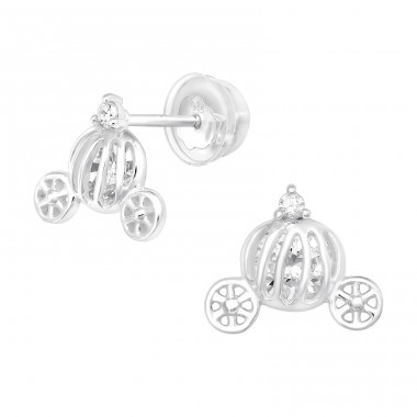 Pumpkin Carriage - 925 Sterling Silver Ear Studs with Zirconia stones A4S40377