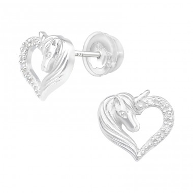 Unicorn - 925 Sterling Silver Ear studs with crystals & Zirconia A4S40378