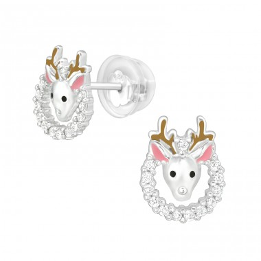 Reindeer - 925 Sterling Silver Ear Studs with Zirconia stones A4S40393