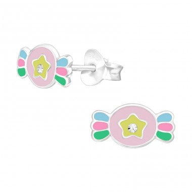 Candy - 925 Sterling Silver Ear studs with crystals A4S40516