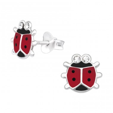 Ladybug - 925 Sterling Silver Ear studs with crystals A4S40522