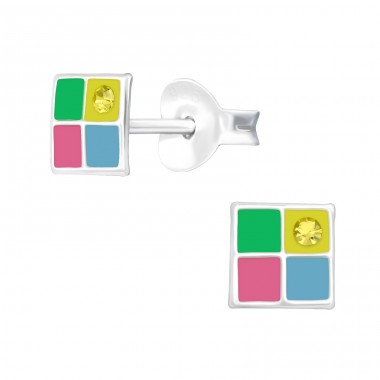 Multicolor square - 925 Sterling Silver Ear Studs With Crystals A4S40526