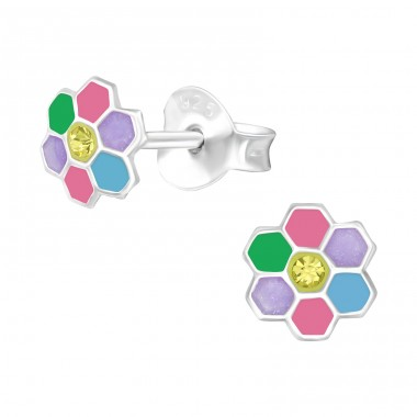 Multicolor Flower - 925 Sterling Silver Ear Studs With Crystals A4S40527