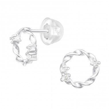 Circle - 925 Sterling Silver Ear studs with crystals & Zirconia A4S40552