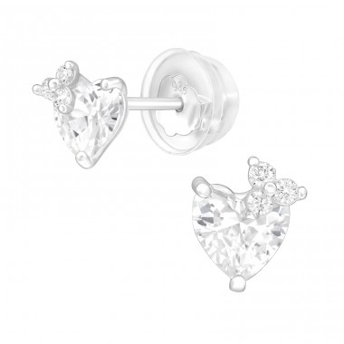 Heart - 925 Sterling Silver Ear studs with crystals & Zirconia A4S40556