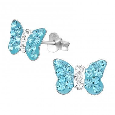 Butterfly - 925 Sterling Silver Ear studs with crystals A4S40666