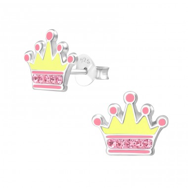 Crown - 925 Sterling Silver Ear studs with crystals A4S40672