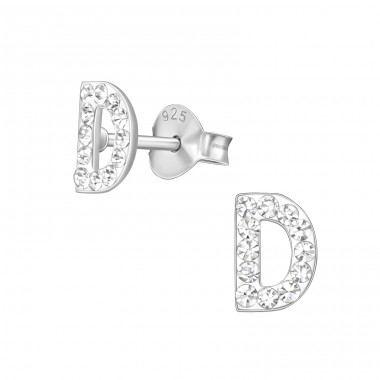 """""""D"""" - 925 Sterling Silver Ear Studs With Crystals A4S40675"""